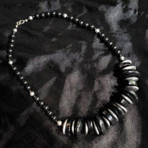 Silver Gray and Black Necklace